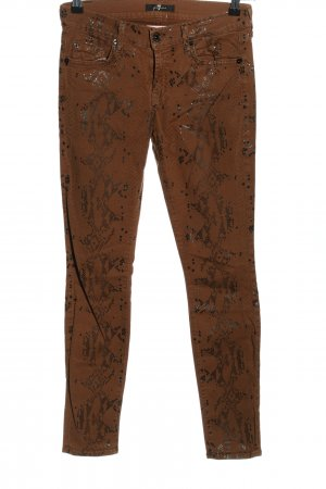 7 For All Mankind Stretch Trousers brown allover print casual look