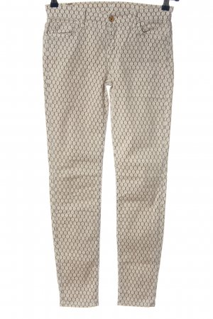 7 For All Mankind Stretch Trousers cream-brown allover print casual look