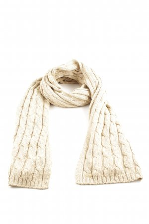 7 For All Mankind Gebreide sjaal room kabel steek casual uitstraling