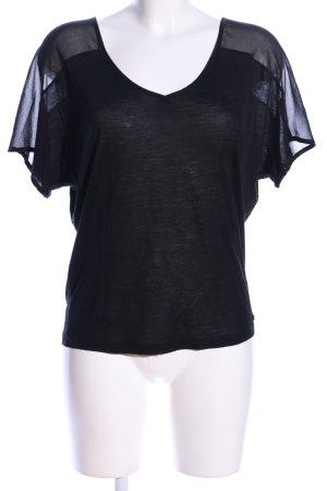 7 For All Mankind V-Ausschnitt-Shirt schwarz Casual-Look