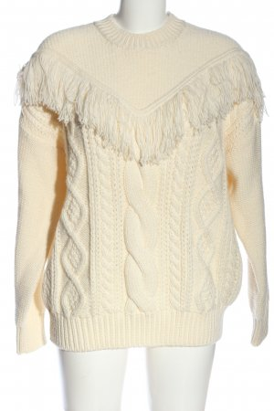 7 For All Mankind Cable Sweater cream cable stitch casual look