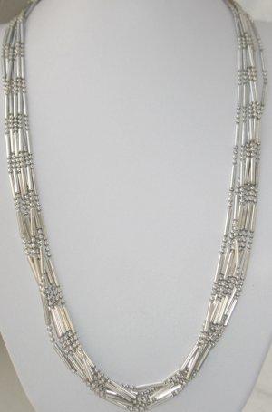 7 Reihen 925 Sterling Silber Kette Collier Juwelierstück 7 strängige Silber Collier Kette Halskette