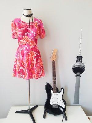70er Glamrock Kleid in Rosatönen mit Sternen, Gr. M/40