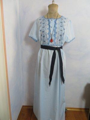 VINTAGE  70er Robe Hippie bleu azur-bleu acier tissu mixte