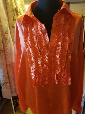 70er-Jahre-Retro-XXL-Hemd Rüschen Satin Orange