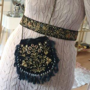 70er Jahre Samt Tasche + Taillengürtel bestickt mit Perlen - Handmade in Indien unbenutzt und wunderschön! Oriental