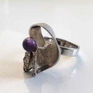 70er Skulptur Amethyst Silber 925 Ring Silberring 60s 70s Modernist Mod Brutalist Op art Sixties