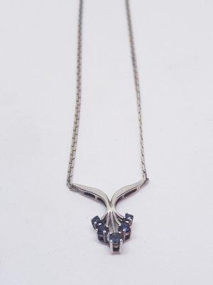 70er Vintage Collier 925 Sterling Silber Saphir blau Edelstein Kette Silbercollier