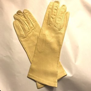 Vintage Leather Gloves pale yellow-yellow