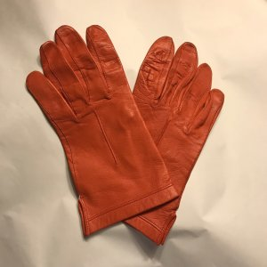 Vintage Rękawiczki skórzane ciemny pomarańcz