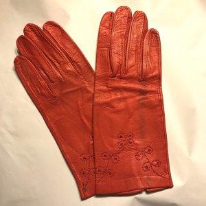 Vintage Rękawiczki skórzane czerwony