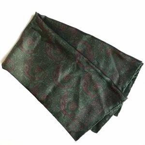 Vintage Bufanda de seda verde oscuro