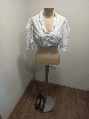 70s 70er Trachtenbluse Cropped Bluse weiß Rüschen Gr. M L