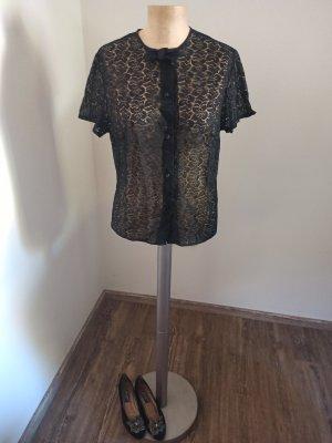 70s 80s Vintage Bluse transparent Lochspitze Schleife schwarz Gr. S M L