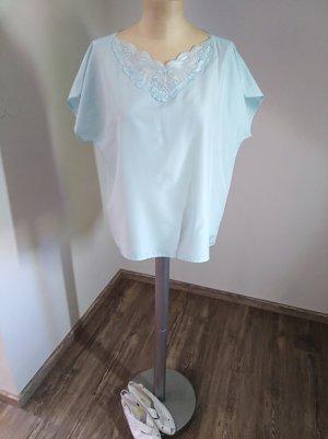 70s Vintage Bluse handgenäht türkis hellblau Pastell Gr. M/L