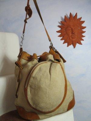 VINTAGE  70er Bolso tipo marsupio marrón claro-beige tejido mezclado
