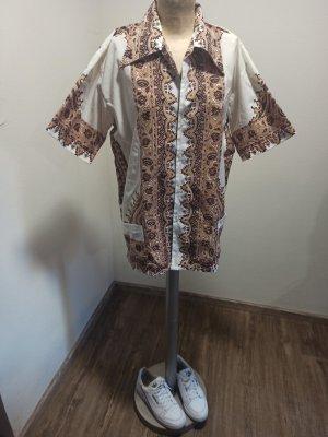 70s  Vintage Hemd weiß braun gemustert Unisex Gr. L-XL