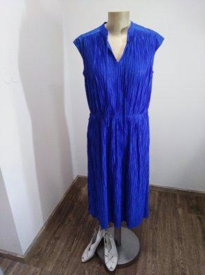 70s Vintage Midikleid Plissee royalblau Gr. S-L