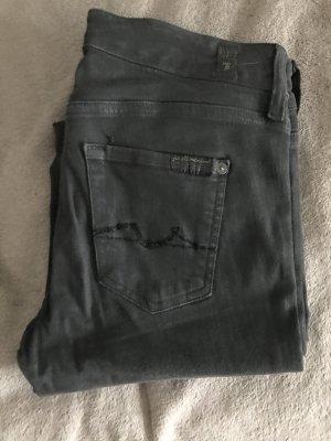 7 For All Mankind Drainpipe Trousers anthracite-dark grey cotton