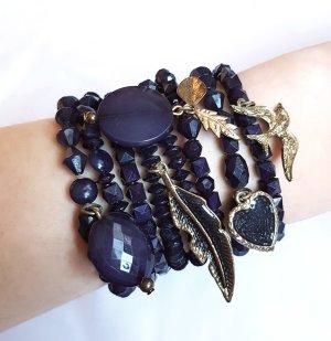 8 Armbänder Pieces Dunkelblau Gold Anhänger