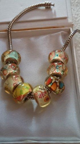 8 Stück Blumen Glas Charms Beads für Armband