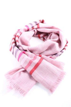 -8- Venice Bufanda de flecos rosa estampado a rayas look casual