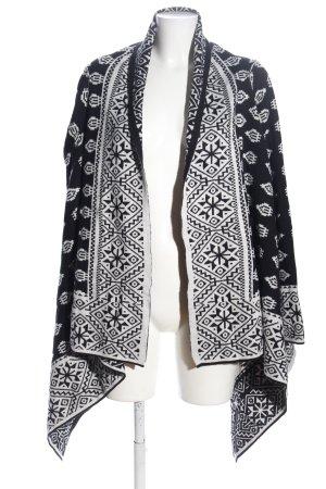 -8- Venice Sweter z dzianiny biały-czarny Na całej powierzchni W stylu casual
