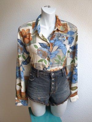 80er / 90er Vintage Bluse abstrakt gemustert mit Blumen