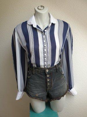 80er / 90er Vintage Bluse mit Längsstreifen und weißem Kragen