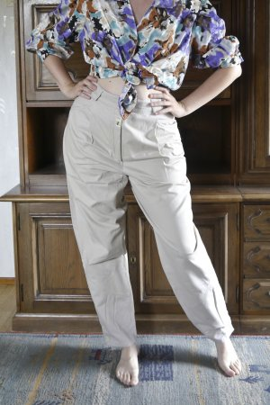 True Vintage Peg Top Trousers oatmeal cotton