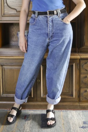 True Vintage Wortel jeans staalblauw Katoen