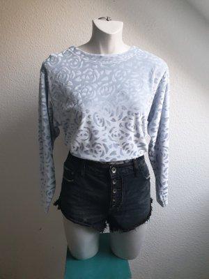 80er / 90er Vintage Oversize Samtshirt, hellblau