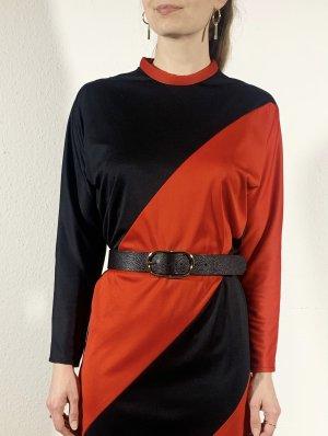 Vintage Robe à manches longues noir-rouge