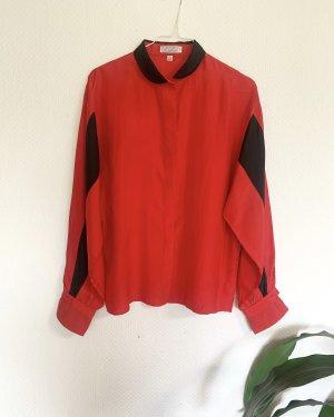 Vintage Jedwabna bluzka czarny-czerwony