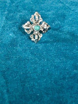 80er Jahre Vintage Ethno Ring Silber 925 mit Türkis Größe 57/18,1 mm
