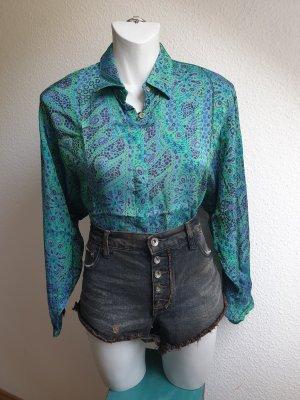 80er Vintage Bluse mit abstraktem Print in grün / lila