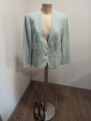80s 90s Delmod Blazer Cropped grün weiß Karo Wolle Seide Gr. 42