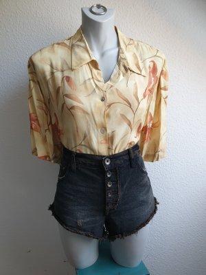 80s / 90s Vintage Bluse / Hemd, gelb mit Blumenprint