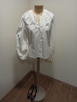Vintage Koronkowa bluzka biały Bawełna