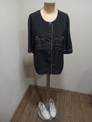 80s 90s Vintage Bluse schwarz glänzed Silber bunte Knöpfe Oversize