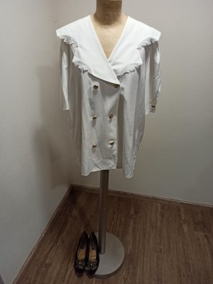 Vintage Blusa ancha blanco-color oro