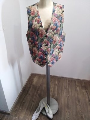 80s / 90s Vintage Brokatweste Gobelin Blumenmuster bunt Gr. S-L