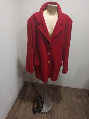 80s 90s Vintage Kurzmantel Wollmantel Cashmere anteil rot Oversize 40 42 44