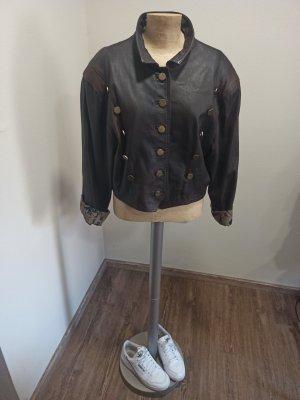 80s 90s Vintage Lederjacke Cropped / Kurzjacke braun Gr. M L