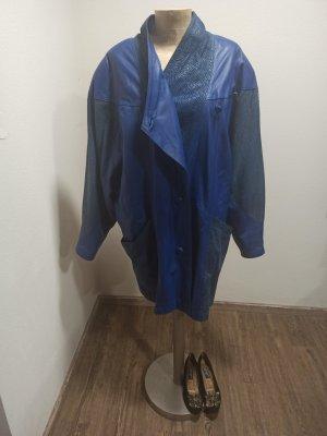 80s 90s Vintage Mantel Ledermantel Oversize Blau Animal Gr. 42 44 46