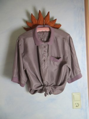 80s 90s Vintage oversize Seidenhemd Mauve Poloshirt  - M L XL - 100% Seide Bluse Hemd