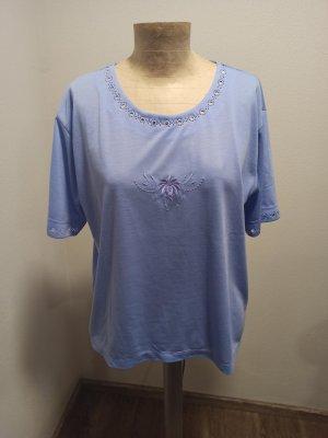 80s 90s Vintage Oversized Shirt T-Shirt Flieder lila bestickt Gr. L-XL