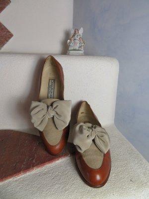 80s Große Satin Schleife Slippers Hellbraun Creme Flach 100% Leder Schuhe Derby College EU 37,5  Streetstyle