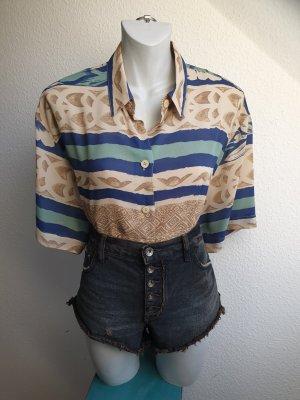 80s Hemd / Bluse, sandfarben mit tropischem Print