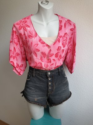 80s Oversize Vintage Hawaii Bluse / Hemd in rosa / pink